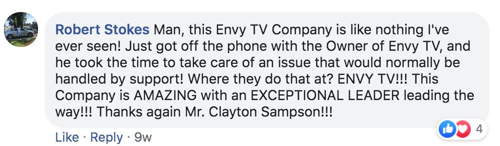 Envy TV Testimonial Robert Stokes
