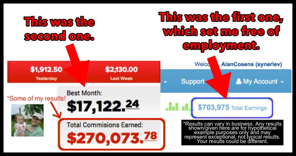 Income Results Screenshots